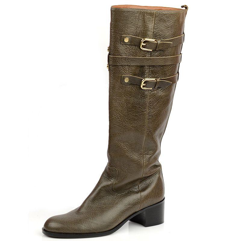 Сапоги на устойчивом каблуке Mugnai коричневые