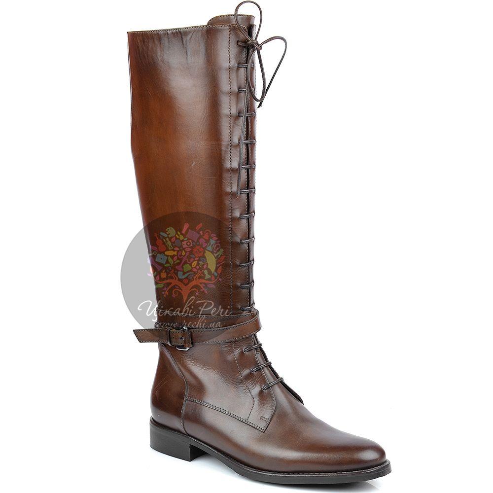 Сапоги Eclat на молнии осенние высокие из коричневой кожи со шнуровкой
