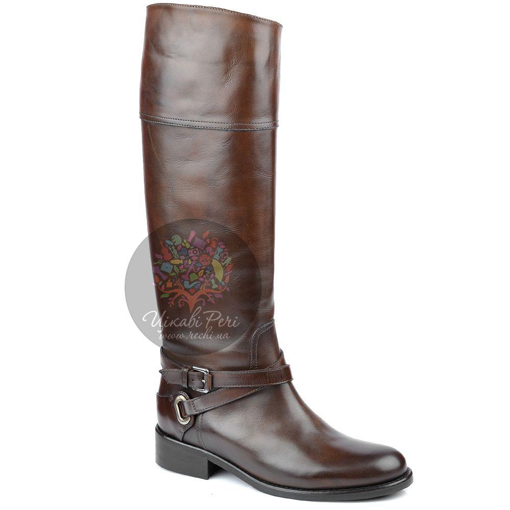 Сапоги Eclat осенние кожаные коричневые с голенищем трубой