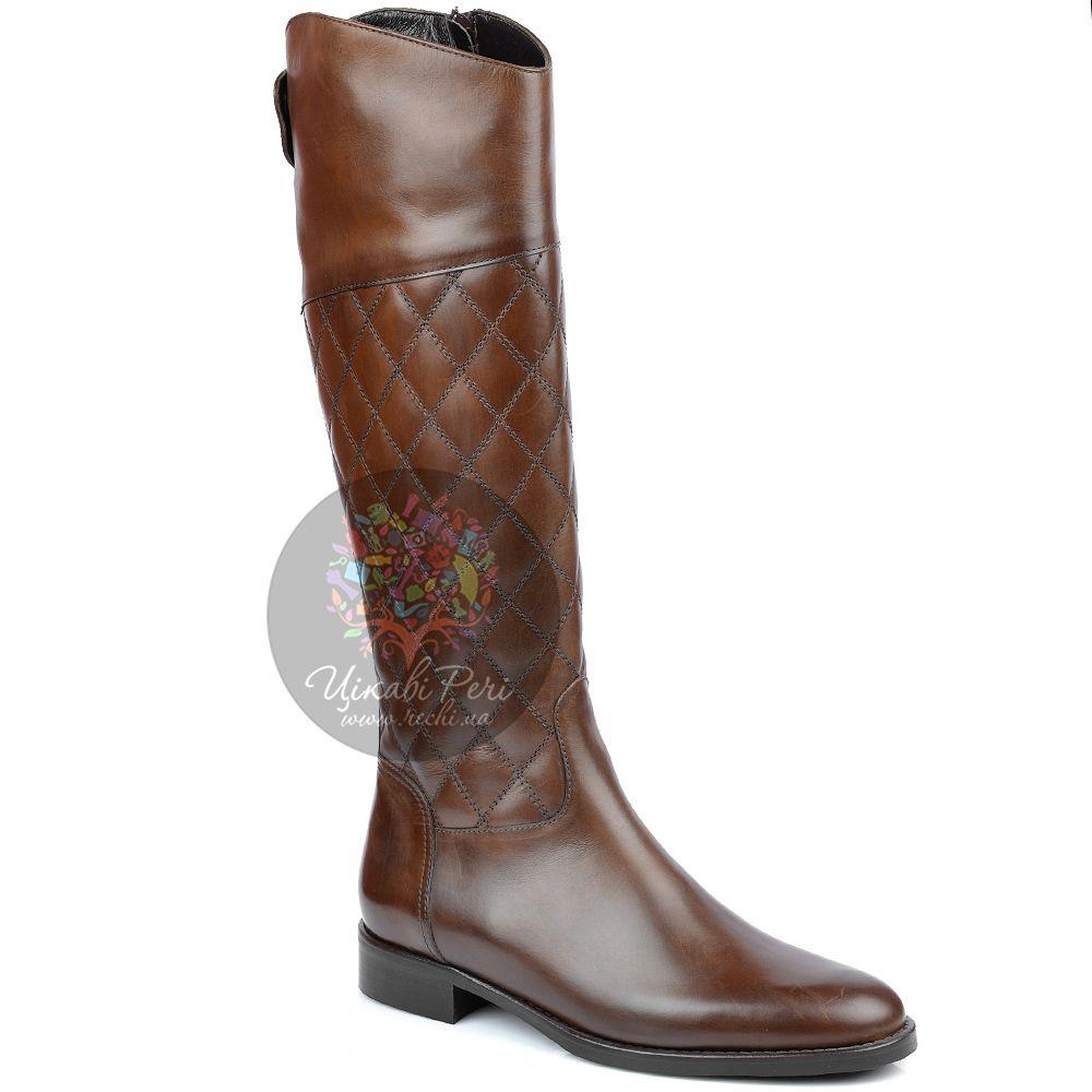 Сапоги Eclat на молнии осенние кожаные коричневые стеганые на низком ходу