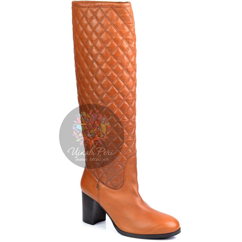 Сапоги Eclat осенние кожаные рыжие стеганые на устойчивом каблуке