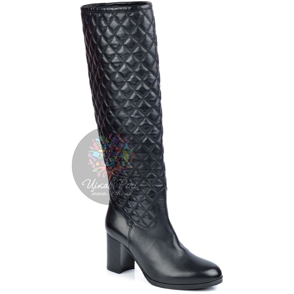Сапоги Eclat осенние кожаные черные стеганые на устойчивом каблуке