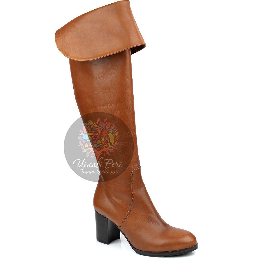 Ботфорты Eclat осенние кожаные рыжие на устойчивом среднем каблуке