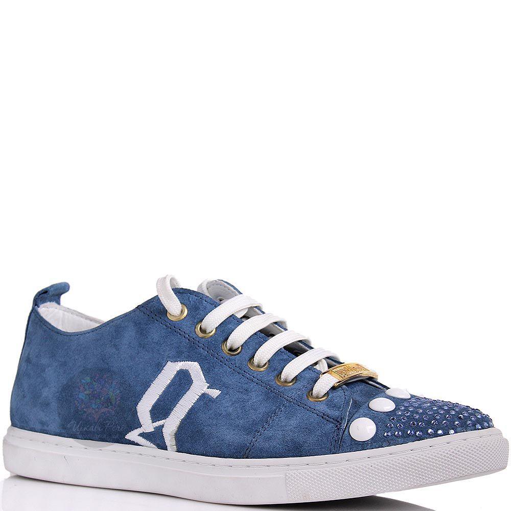 Кеды Galliano синего цвета замшевые со стразами на носочке