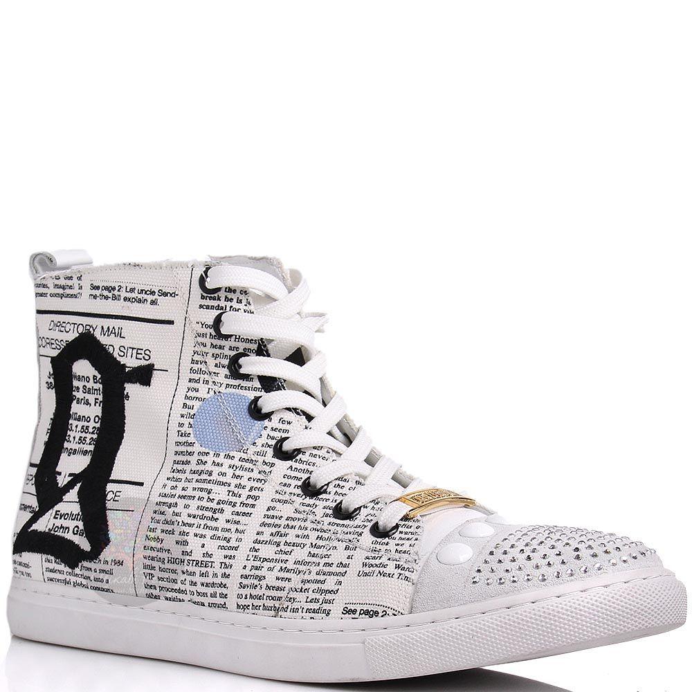 Кеды Galliano высокие с принтом под газету и стразами на носочке