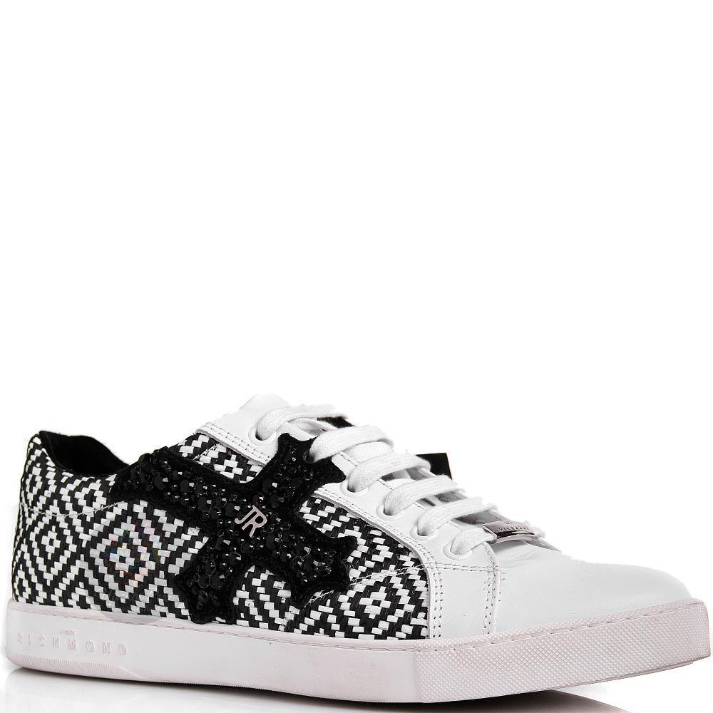 Кроссовки John Richmond черно-белые из плетенной кожи с крестом из страз