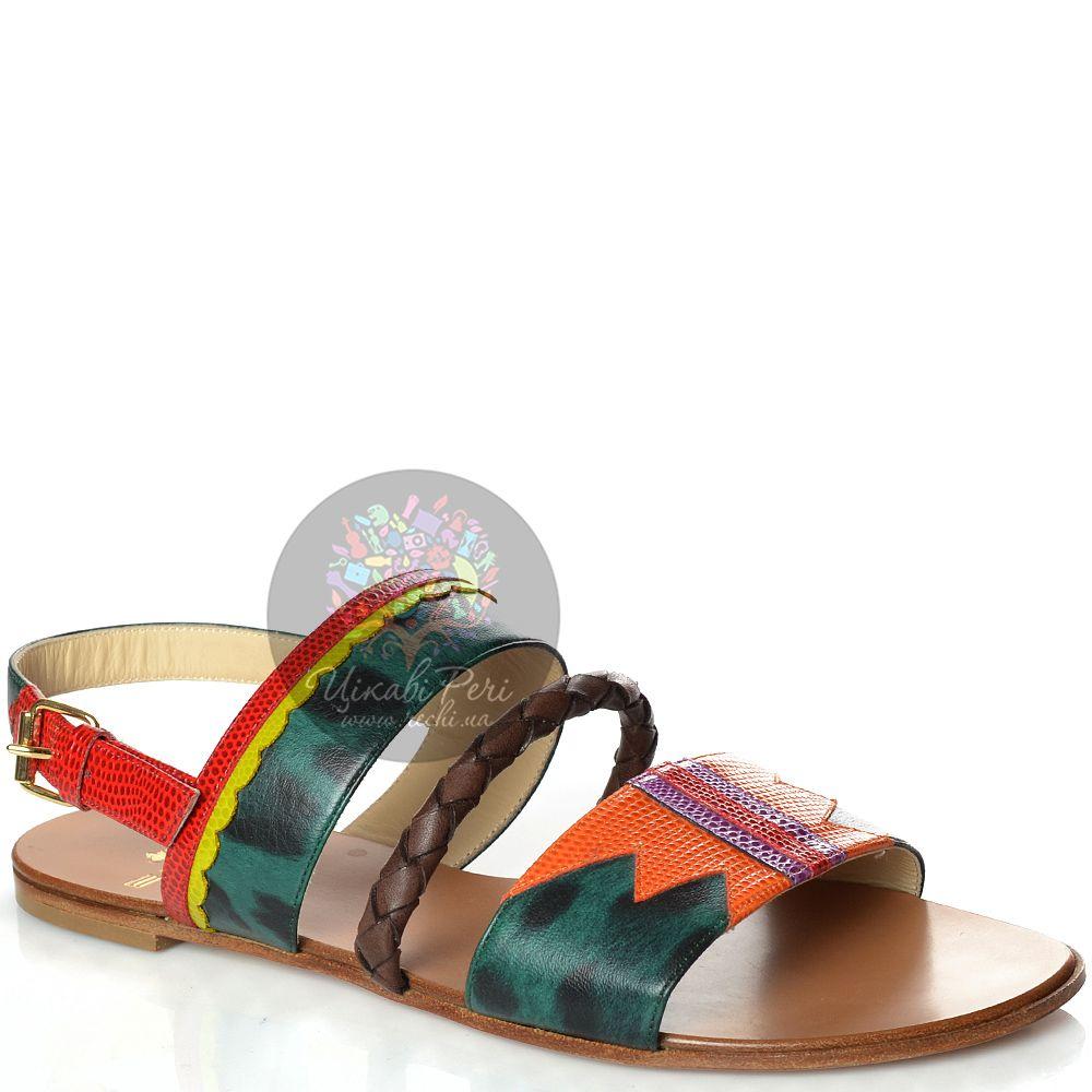 Сандалии Etro кожаные с красивыми разноцветными принтами