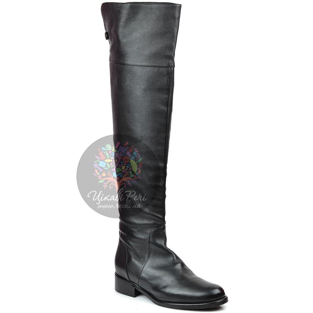Ботфорты Eclat осенние кожаные черные на низком каблуке