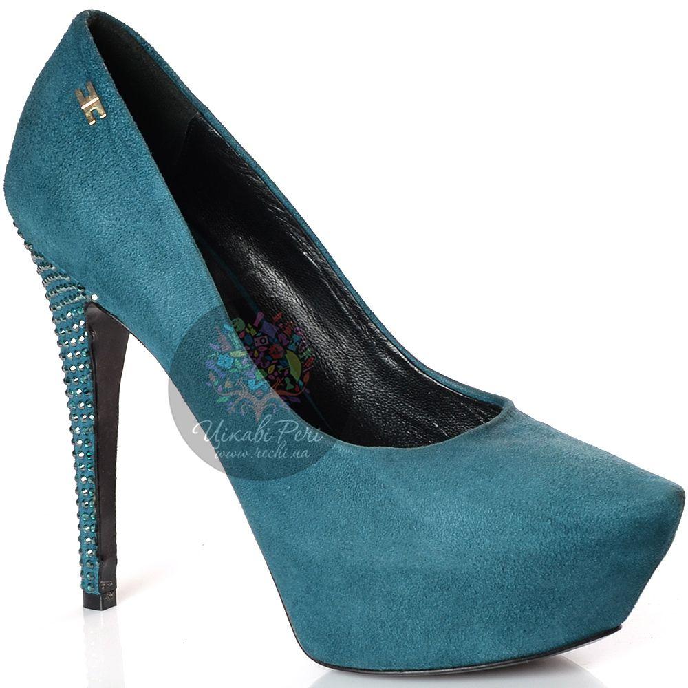 Туфли Elisabetta Franchi замшевые цвета морской волны на шпильке со стазами