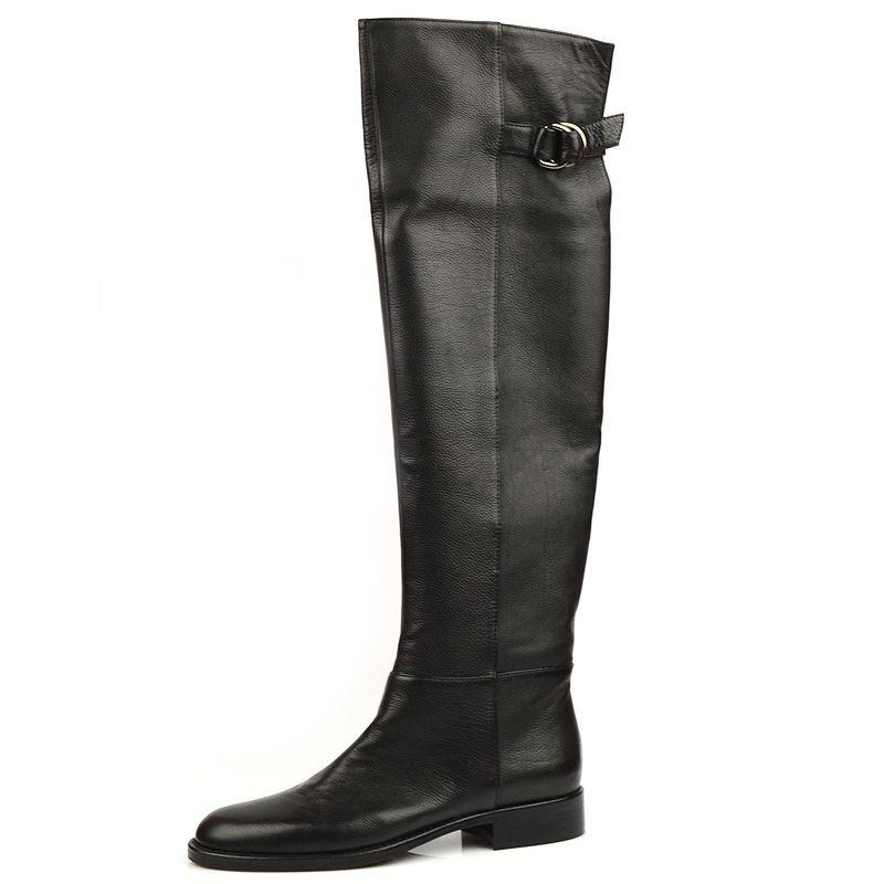 Черные ботфорты без каблука Eсlat черные