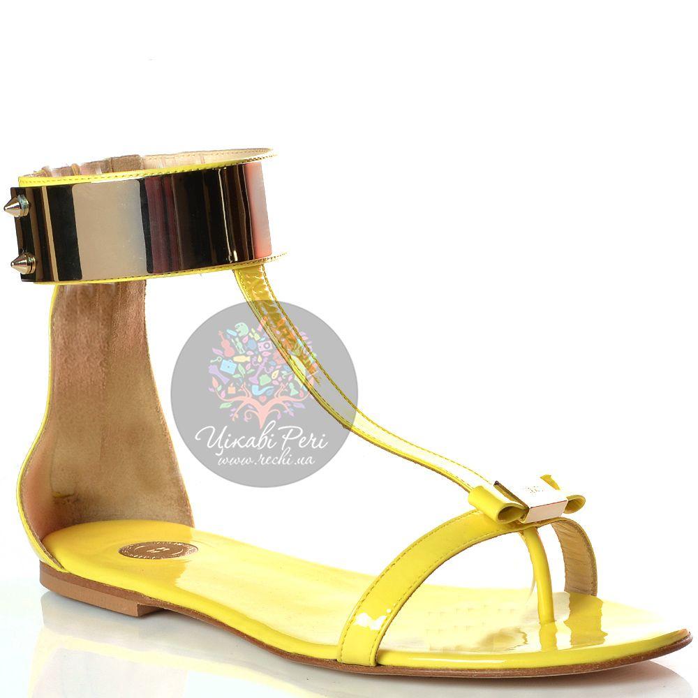 Сандалии Elisabetta Franchi кожаные лаковые желтые с металлическим ободом