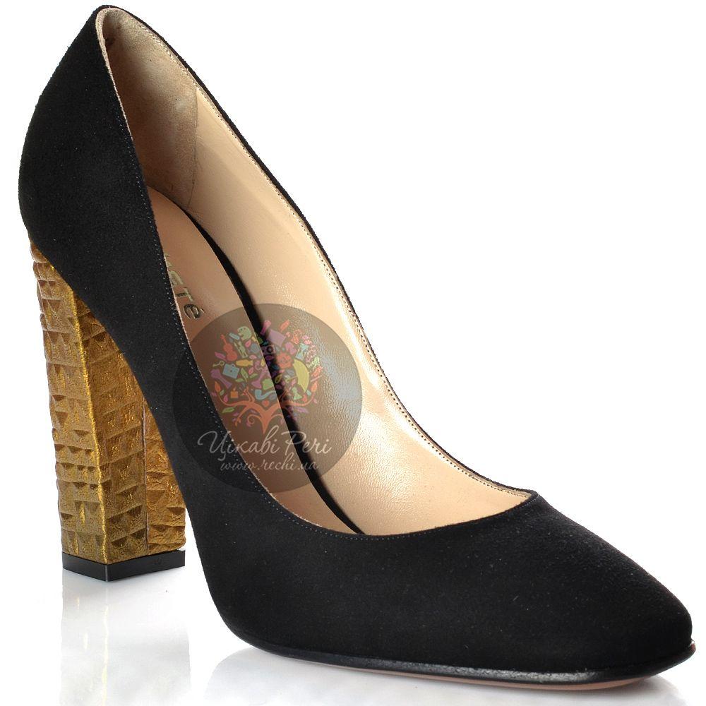 Туфли Kalliste замшевые черные на золоченом рифленом каблуке-столбике