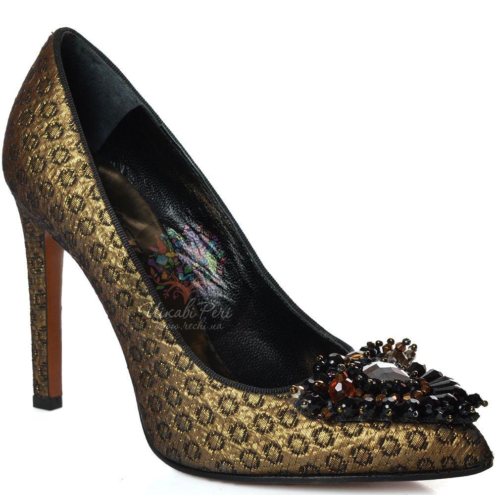 Лодочки Kalliste на шпильке кожано-текстильные черно-золотистые с рельефным рисунком