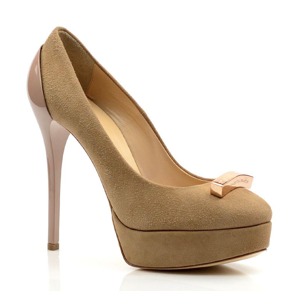 Женские туфли замшевые Elisabetta Franchi бежевые