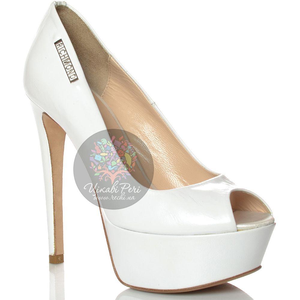 Туфли Richmond на шпильке и скрытой платформе кожаные белые с открытым носком