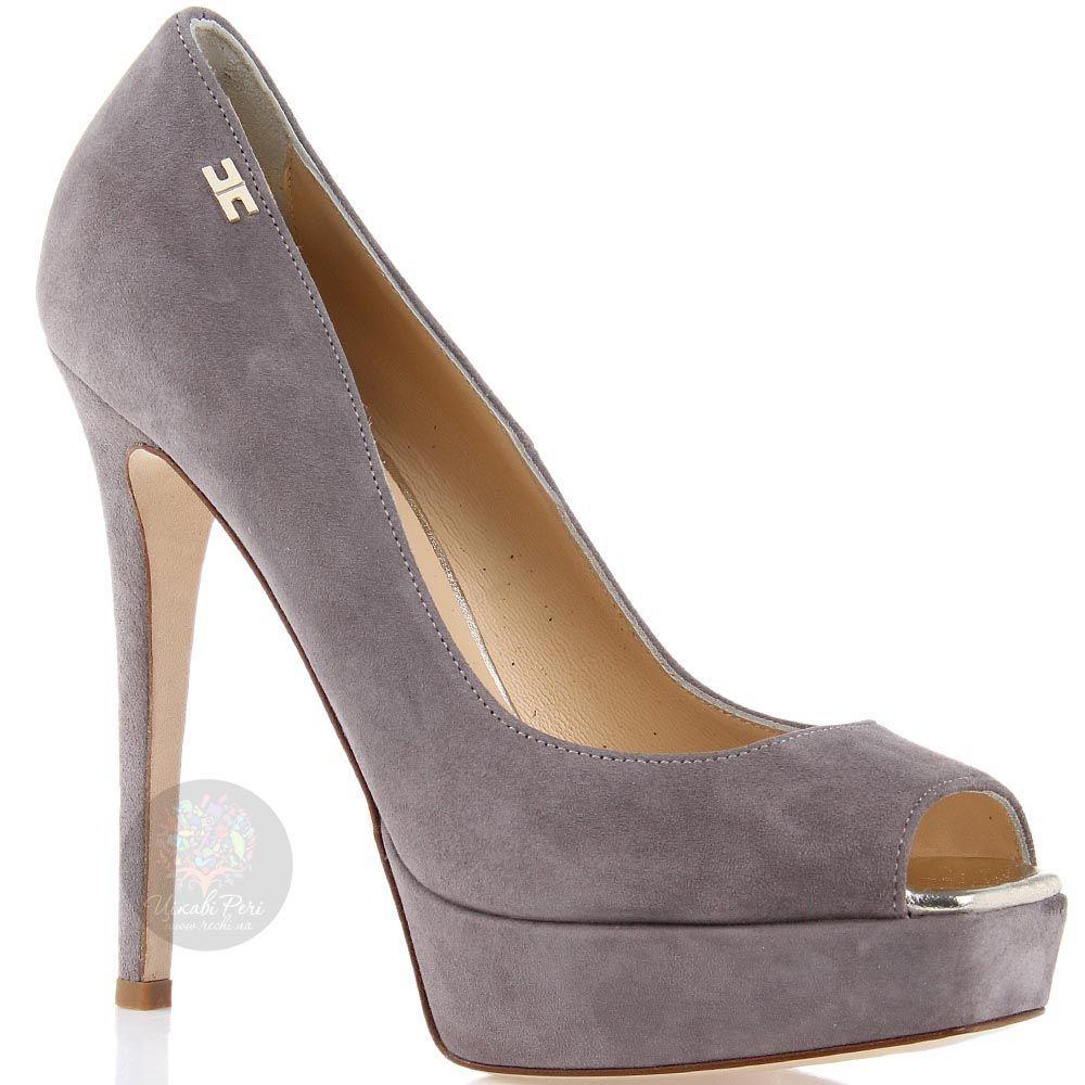 Туфли Elisabetta Franchi серые замшевые с открытым носочком