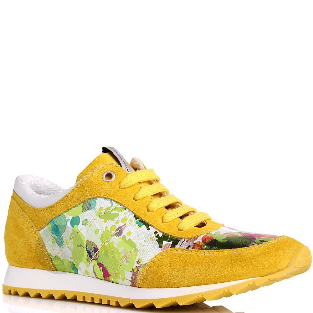Кроссовки Tosca Blu замшевые желтые с цветной вставкой