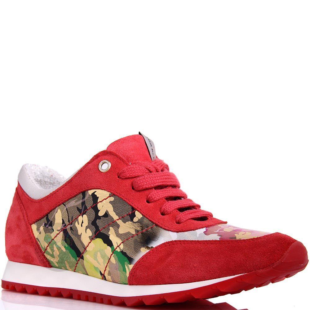 Кроссовки Tosca Blu замшевые красные с камуфляжной вставкой