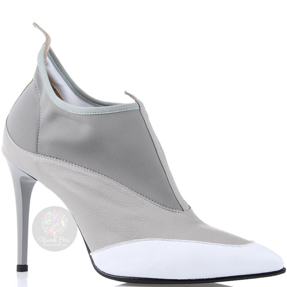 Ботильоны William Massimi серого цвета с белым носочком