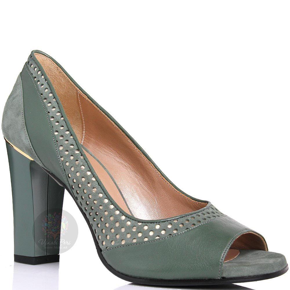 Туфли William Massimi зеленого цвета с перфорацией и золотистой вставкой над каблуком