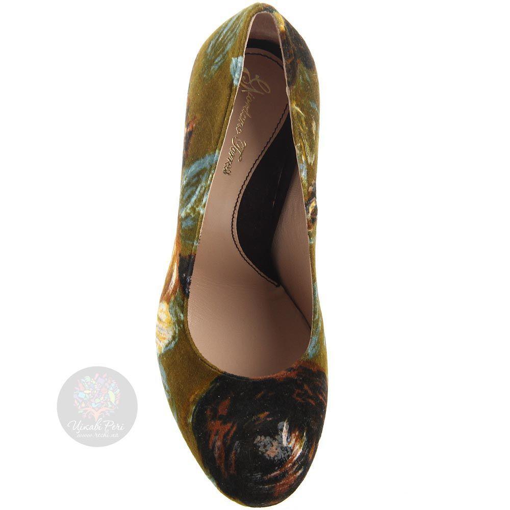 Вельветовые туфли Giordano Torresi оливковые с цветочным принтом