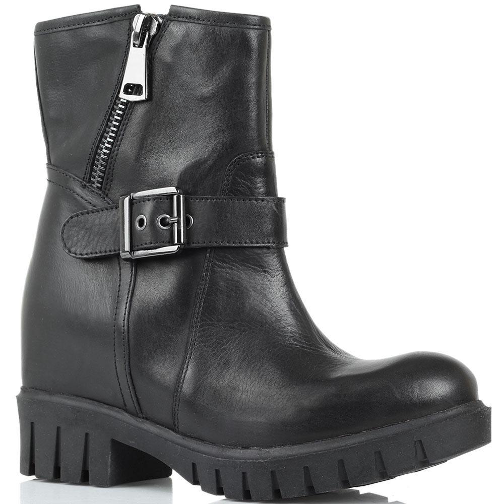 Кожаные ботинки черного цвета Studio Italia на молнии