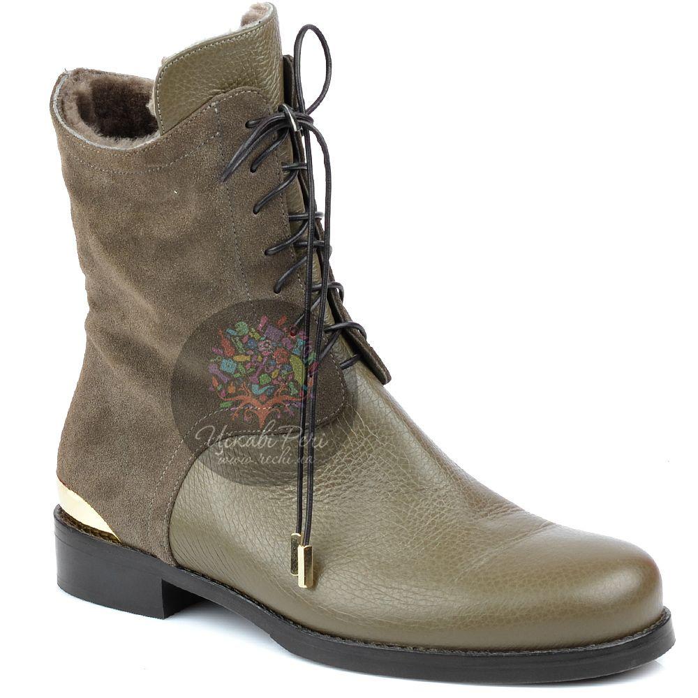 Ботинки Norma J Baker на молнии зимние серо-бежевые на низком каблуке