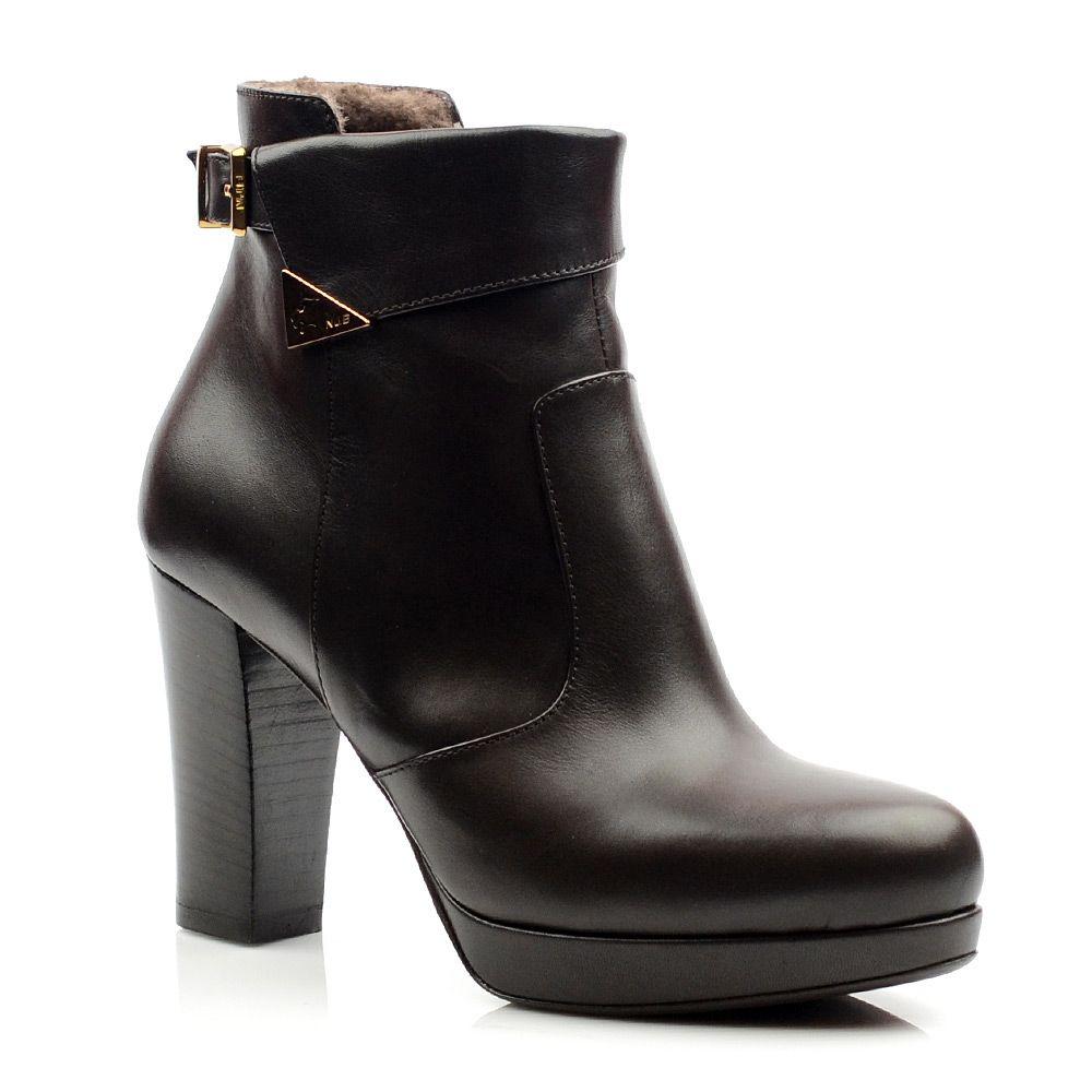 Женские кожаные ботинки зимнее Norma J Baker коричневые