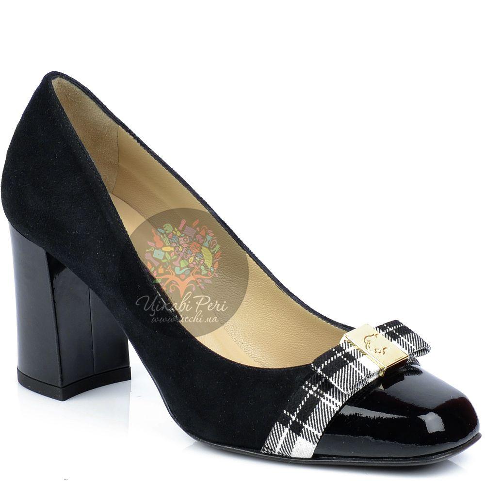 Туфли Norma J Baker черные из замши и кожи с пикантным клетчатым бантом