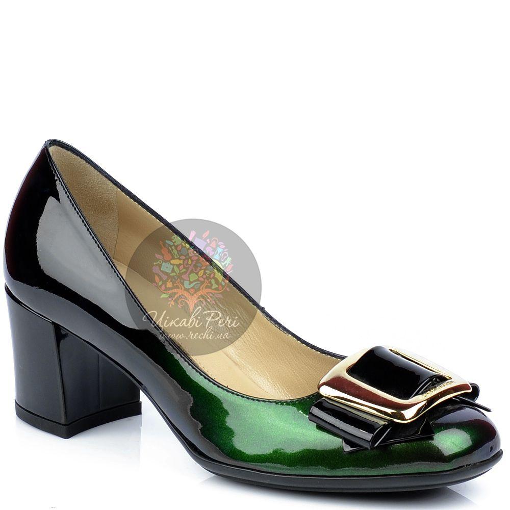 Туфли Norma J Baker зелено-черные лаковые с крупной пряжкой