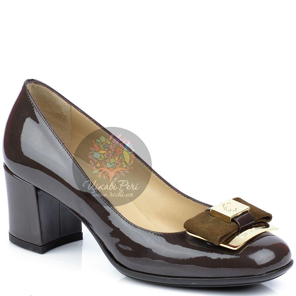 Туфли Norma J Baker из лаковой кожи цвета какао с замшевым бантом