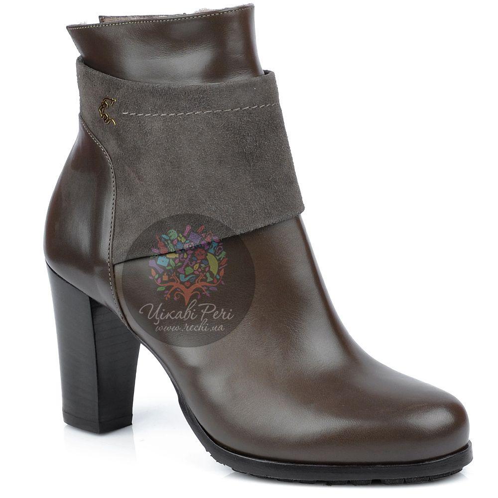 Ботинки Norma J Baker на молнии зимние из кожи и замши коричневого цвета