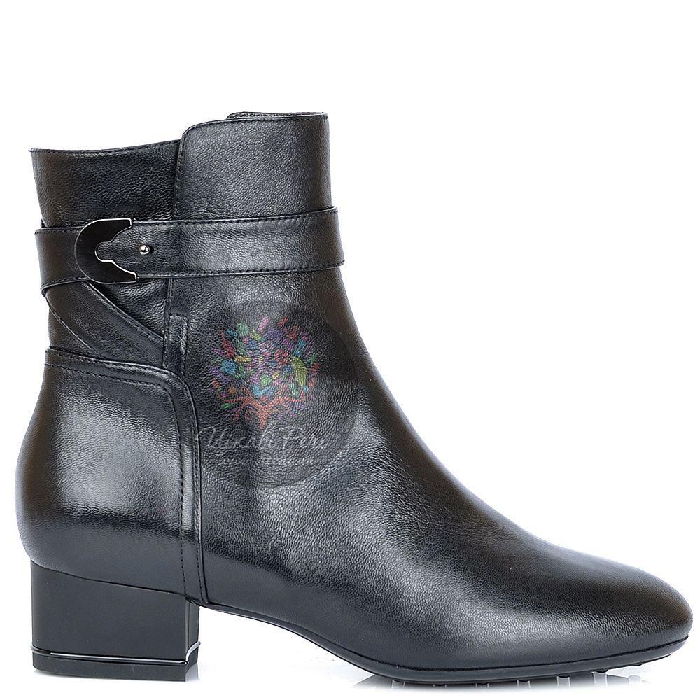 Ботинки Nocturne Rose на низком каблуке черные кожаные с мехом