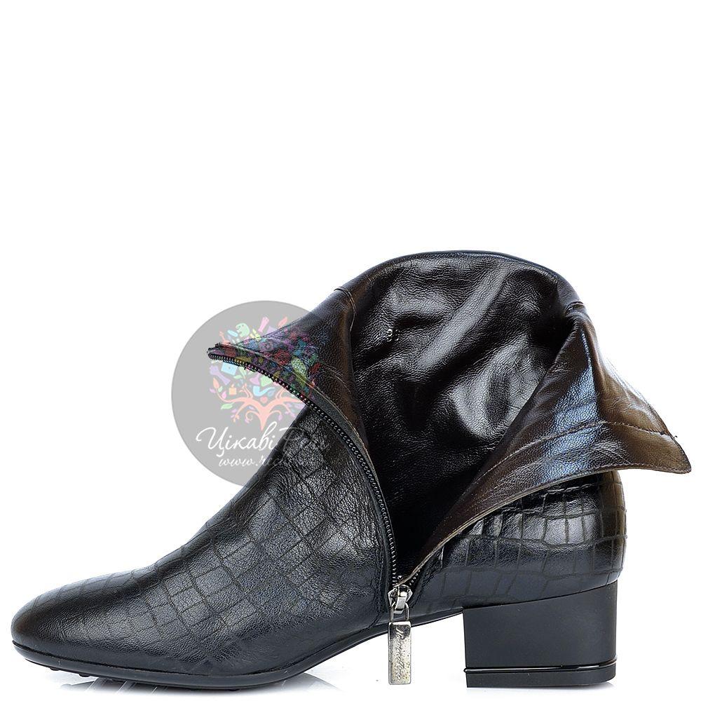 Ботинки Nocturne Rose на низком каблуке кожаные crocostyle