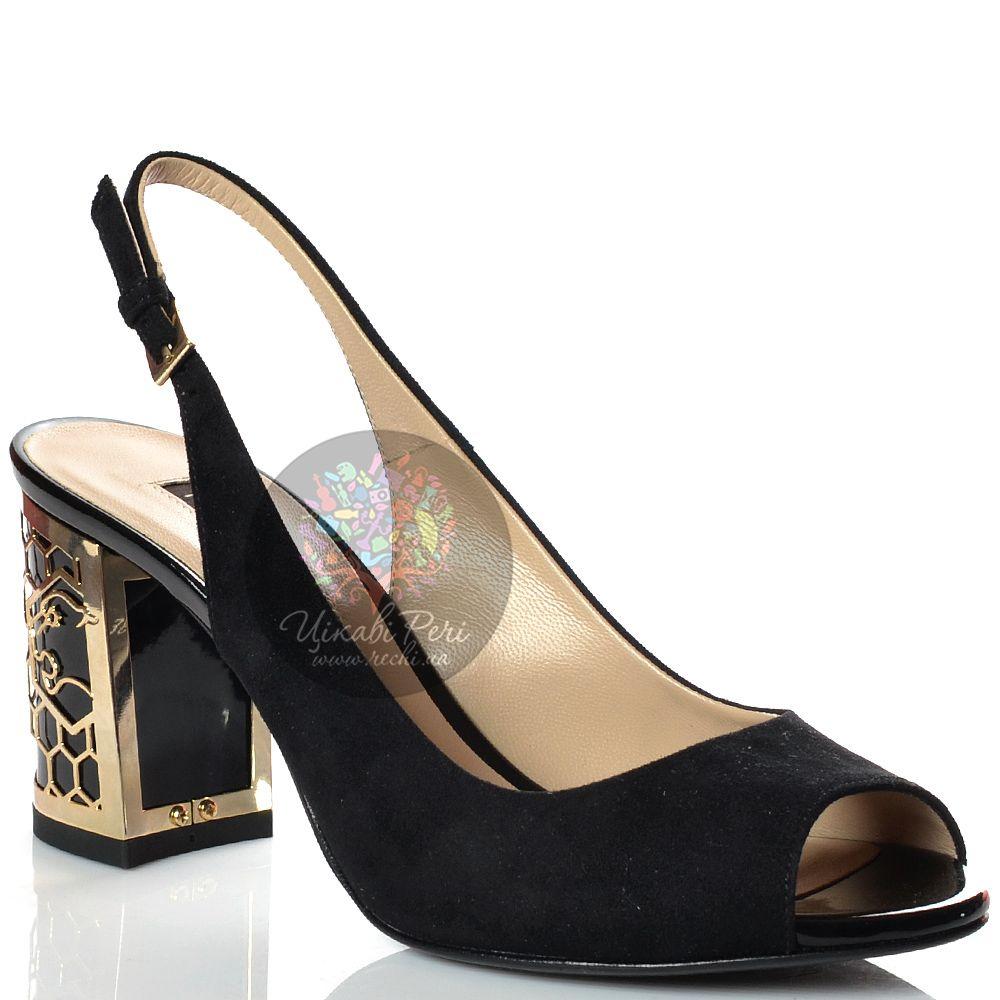 Туфли Norma J Baker открытые замшевые черные с золотистым декором на каблуке