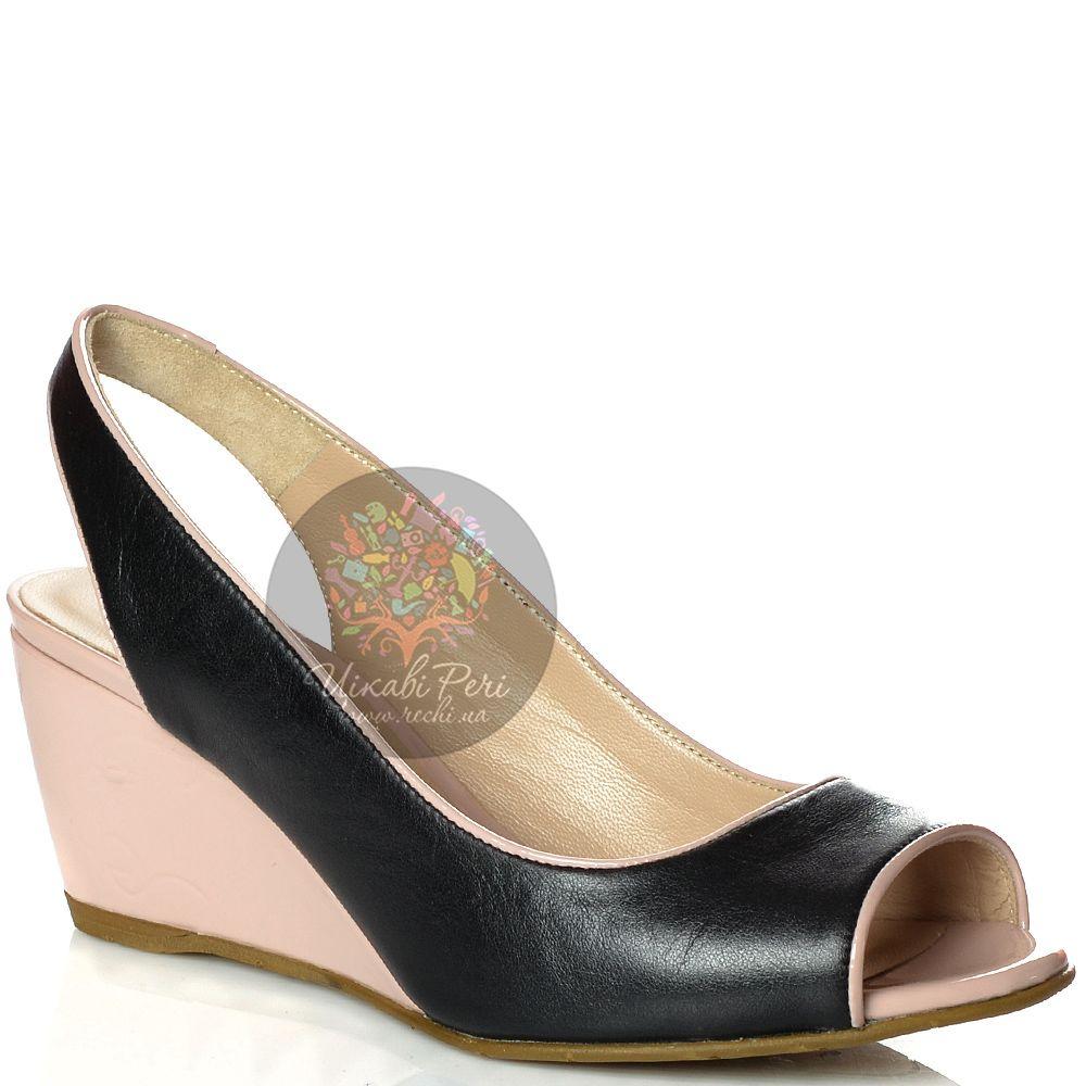Туфли Norma J Baker открытые кожаные черные на средней танкетке цвета пудры