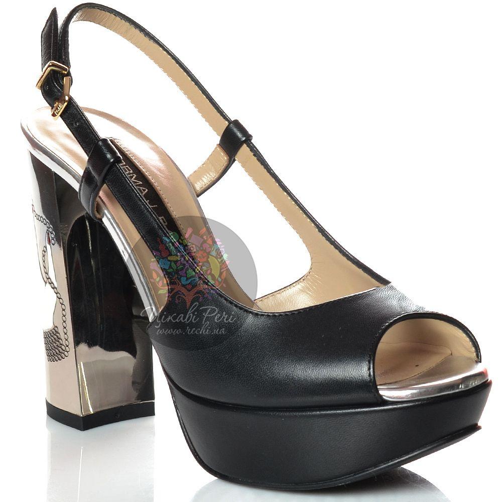 Босоножки Norma J Baker кожаные черные на зеркальном гравированном каблуке-столбике