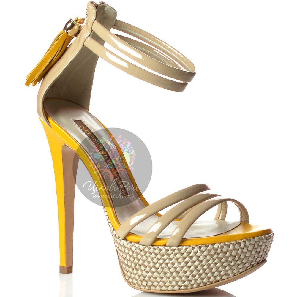 Босоножки Norma J Baker кожаные лаковые бежевые с желтой отделкой