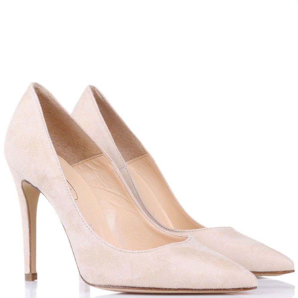 Замшевые туфли Bianca Di бежевого цвета