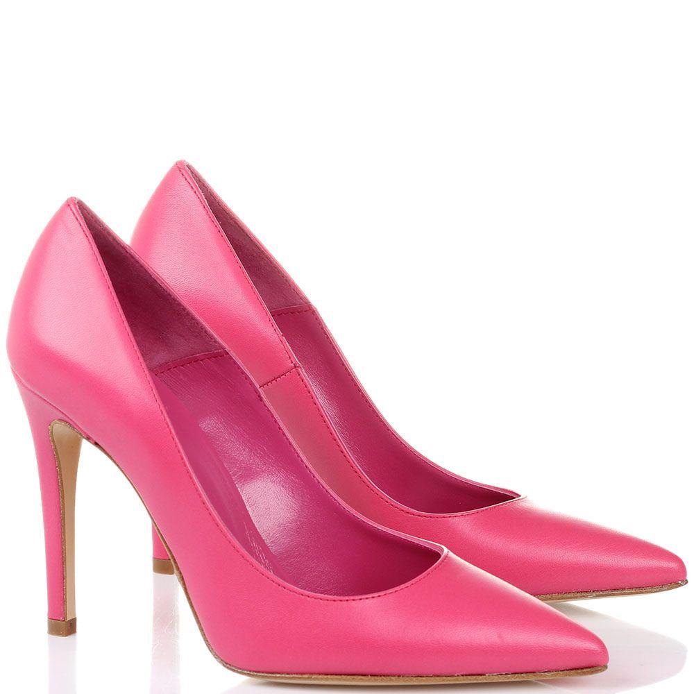 Кожаные лодочки розового цвета Bianca Di