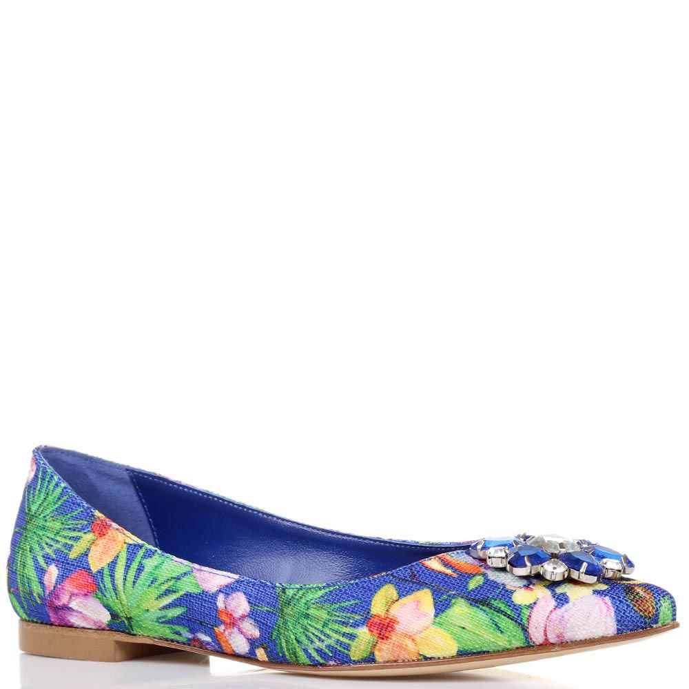 Балетки Bianca Di синего цвета с цветочным принтом и украшением из камней