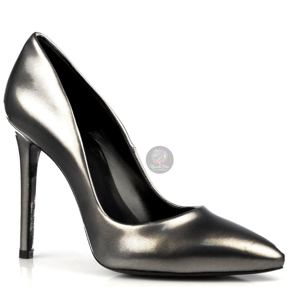 Туфли Ovye на шпильке элегантные лаковые серебристо-серые