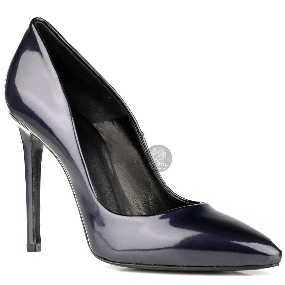 Туфли Ovye на шпильке элегантные лаковые темно-синие