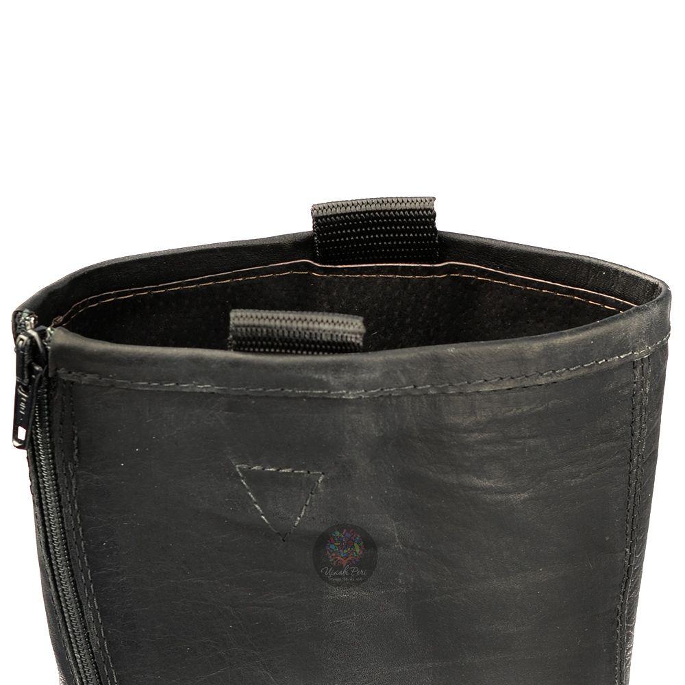 Сапоги Ovye черные осенние кожаные на протекторной подошве