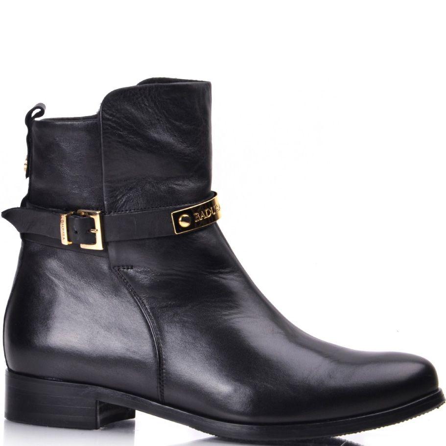 Кожаные ботинки Вadura черные на низком ходу