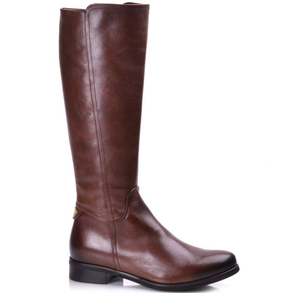 Кожаные коричневые сапоги на молнии Вadura на низком ходу