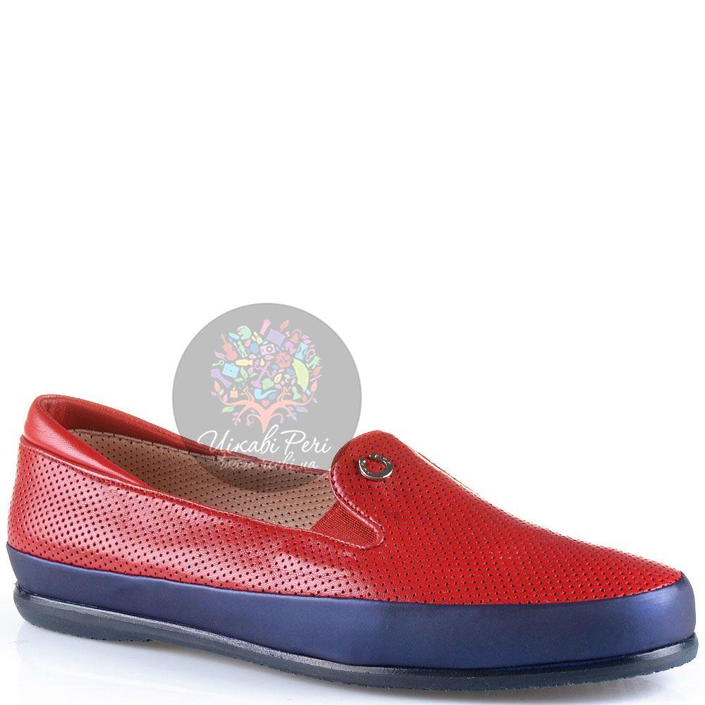 Слиперы Pakerson кожаные красные перфорированные мягкие с синей отделкой