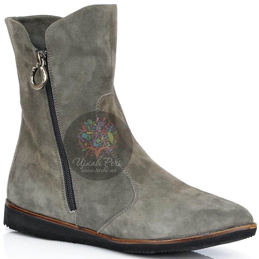 Ботинки Pakerson зимние замшевые серые на двух застежках-молниях