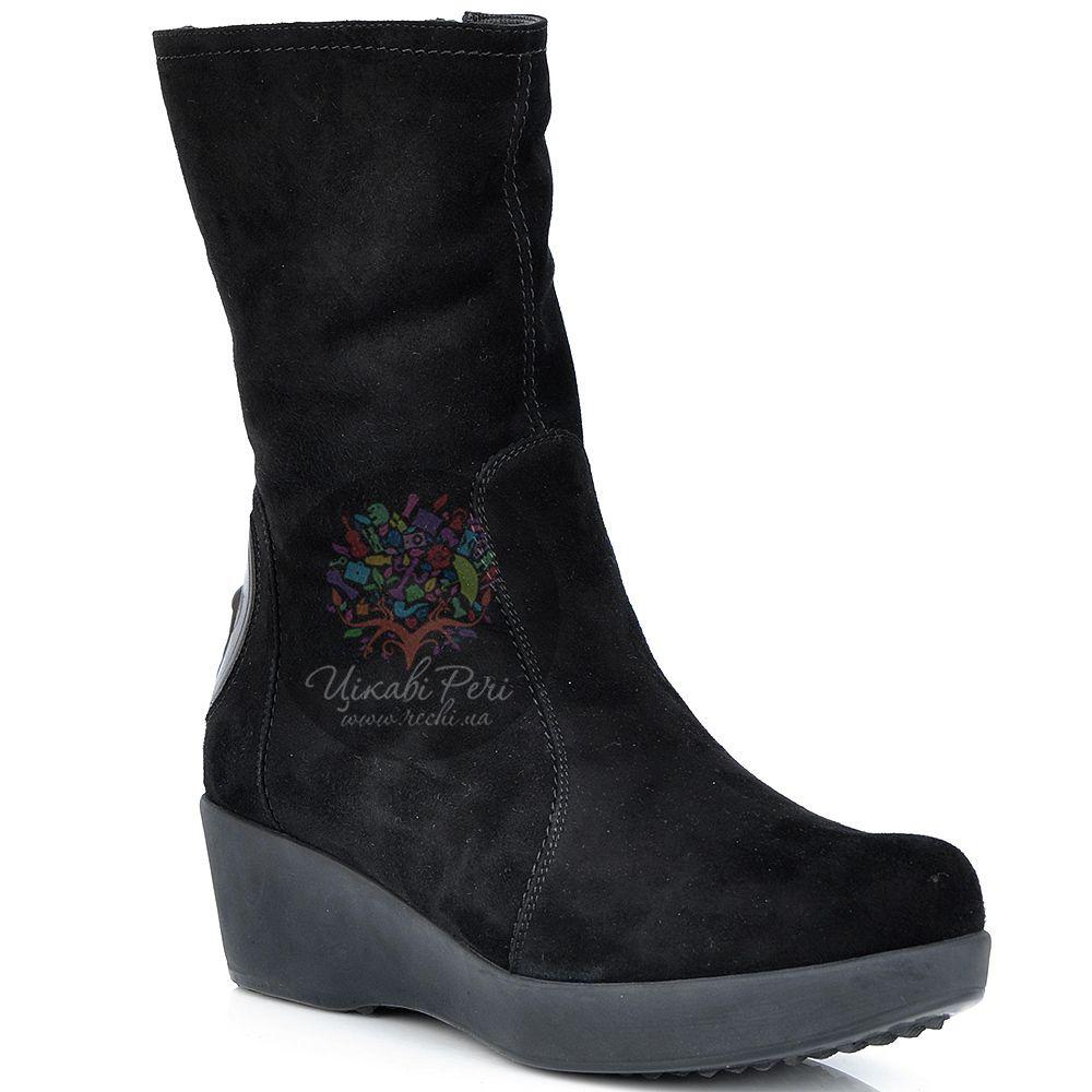 Ботинки Pakerson замшевые зимние черные на невысокой танкетке