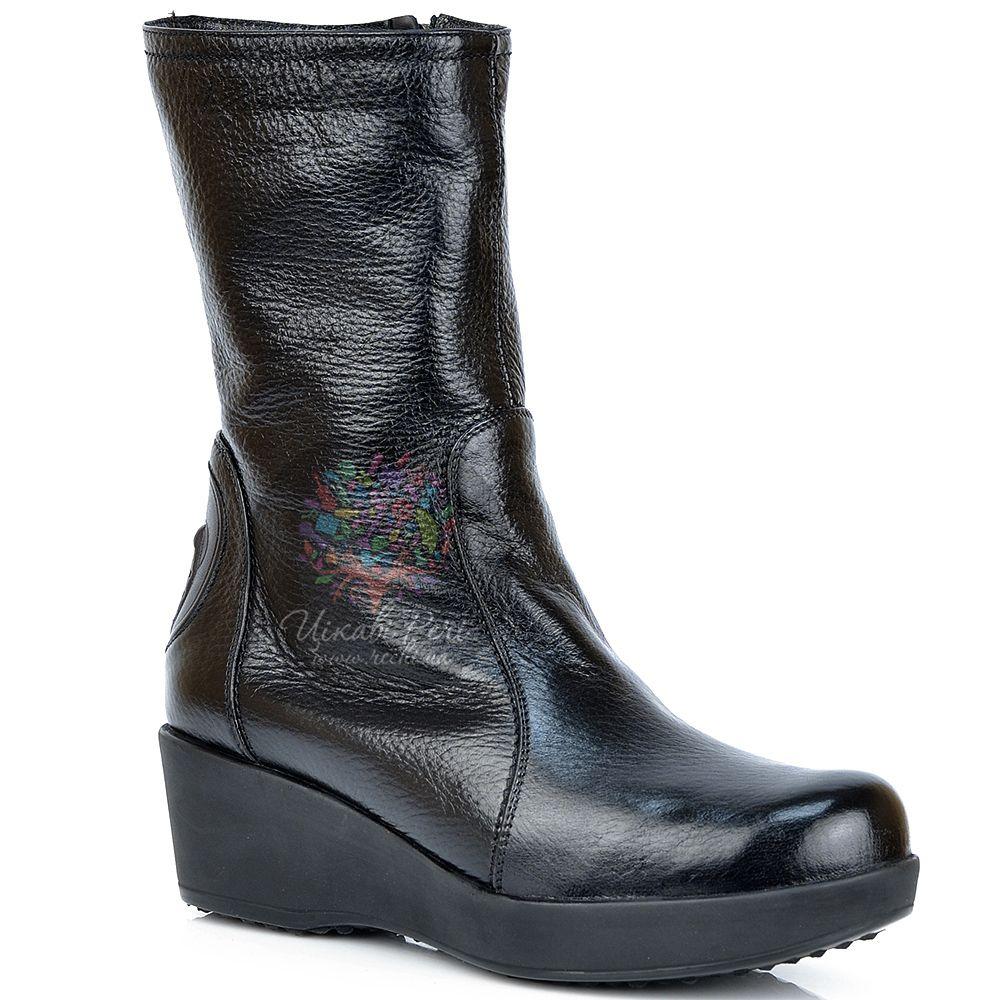 Ботинки Pakerson кожаные зимние черные на невысокой танкетке
